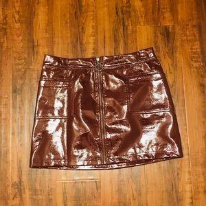 Faux leather PVC oxblood mini skirt